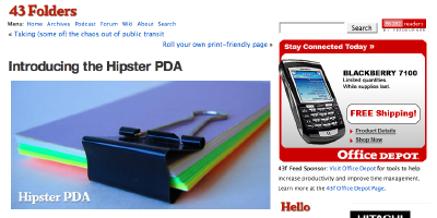 Blackberry advertisement next to Hipster PDA