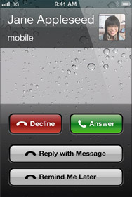 Screenshot of new decline call options on an iPhone